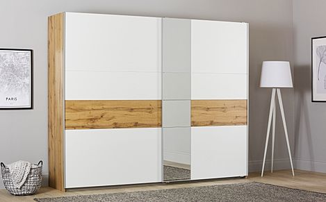 Rauch Korbach Oak and White 2 Door Sliding Wardrobe with Mirror 261cm