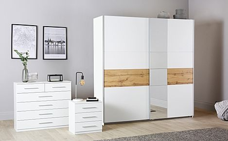 Rauch Korbach White and Oak 3 Piece 2 Door Sliding Wardrobe Bedroom Furniture Set 218cm