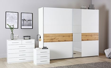 Rauch Korbach White and Oak 3 Piece 2 Door Sliding Wardrobe Bedroom Furniture Set 261cm