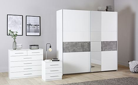 Rauch Korbach White and Stone Grey 3 Piece 2 Door Sliding Wardrobe Bedroom Furniture Set 218cm