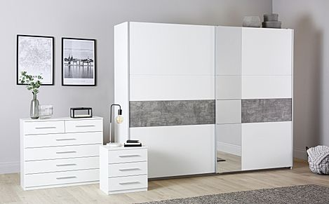 Rauch Korbach White and Stone Grey 3 Piece 2 Door Sliding Wardrobe Bedroom Furniture Set 261cm