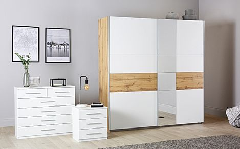 Rauch Korbach Oak and White 3 Piece 2 Door Sliding Wardrobe Bedroom Furniture Set 218cm