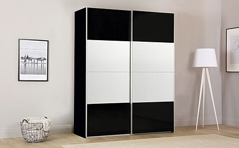 Rauch Avela Black 2 Door Sliding Wardrobe with Mirror 180cm