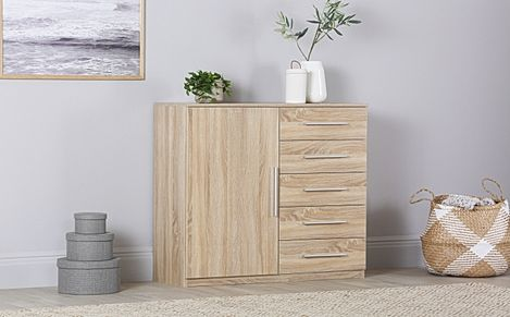 Rauch Vereno Oak 1 Door 5 Drawer Chest of Drawers