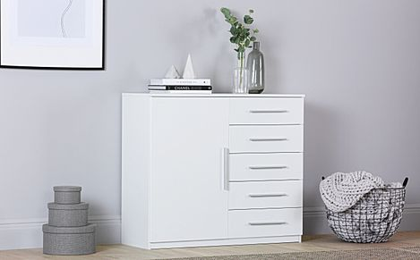 Rauch Vereno White 1 Door 5 Drawer Chest of Drawers