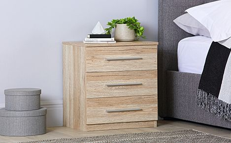 Rauch Vereno Light Oak 3 Drawer Bedside Table