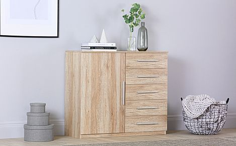Rauch Vereno Light Oak 1 Door 5 Drawer Chest of Drawers