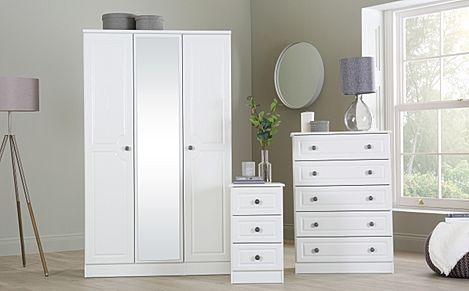 Pembroke White 3 Piece 3 Door Wardrobe Bedroom Furniture Set