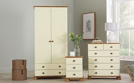 Evesham Cream and Pine 3 Piece 2 Door Wardrobe Bedroom Furniture Set