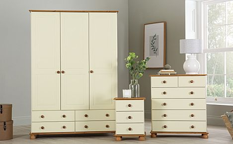 Evesham Cream and Pine 3 Piece 3 Door Wardrobe Bedroom Furniture Set