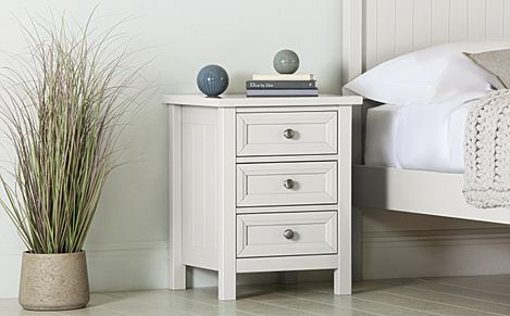 Dorset White 3 Drawer Bedside Table