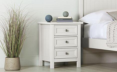 Dorset White 3 Drawer Bedside Table