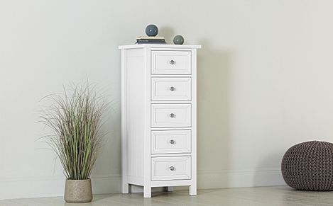 Dorset White Tall Narrow 5 Drawer Chest of Drawers
