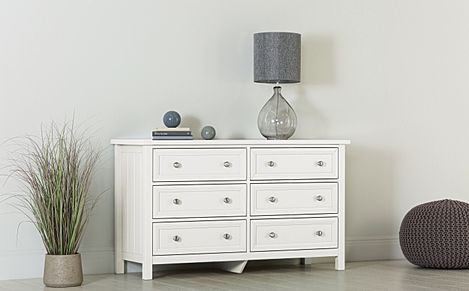 Dorset White Wide 6 Drawer Chest of Drawers