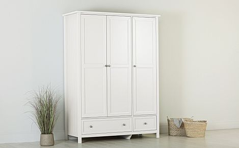 Dorset White 3 Door 2 Drawer Wardrobe