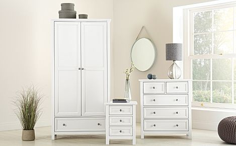 Dorset White 3 Piece 2 Door Wardrobe Bedroom Furniture Set