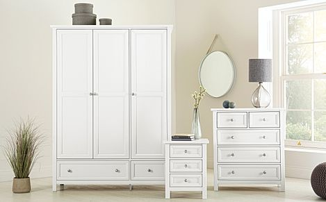 Dorset White 3 Piece 3 Door Wardrobe Bedroom Furniture Set