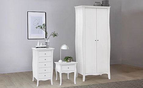 Paris White 3 Piece 2 Door Wardrobe Bedroom Furniture Set