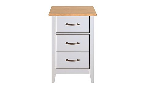 Norfolk Grey and Oak 3 Drawer Bedside Table