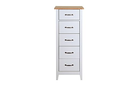 Norfolk Grey and Oak Tall Narrow 5 Drawer Chest of Drawers