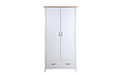 Norfolk Grey and Oak 2 Door 1 Drawer Wardrobe