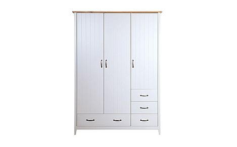 Norfolk Grey and Oak 3 Door 4 Drawer Wardrobe