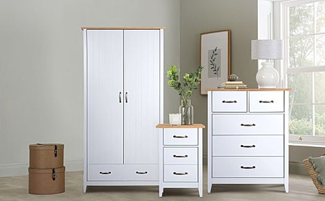 Norfolk Grey and Oak 2 Door 1 Drawer Wardrobe Furniture Set