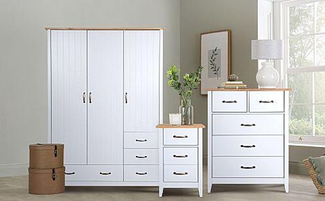 Norfolk Grey And Oak 3 Door 4 Drawer, White Oak Bedroom Furniture Uk