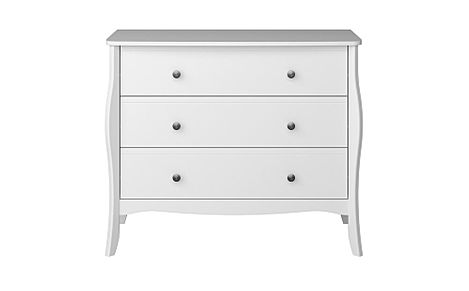 Baroque White 3 Drawer Chest of Drawers