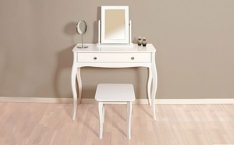 Baroque White Dressing Table Mirror and Stool
