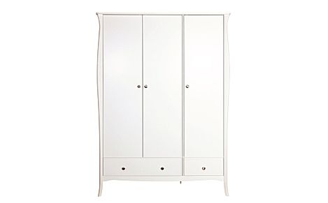 Baroque White 3 Door 2 Drawer Wardrobe
