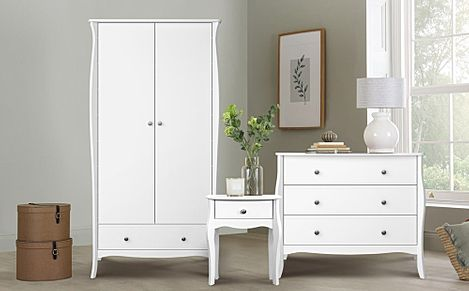 Baroque White 2 Door 1 Drawer Wardrobe Furniture Set