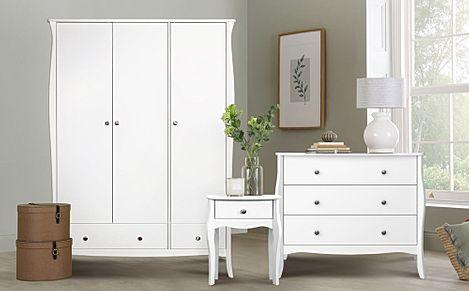 Baroque White 3 Door 2 Drawer Wardrobe Furniture Set