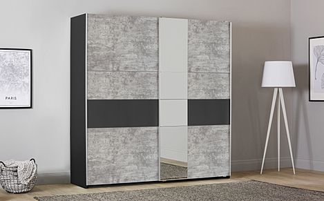 Rauch Korbach 218cm Metallic and Stone Grey 2 Door Sliding Wardrobe with Mirror