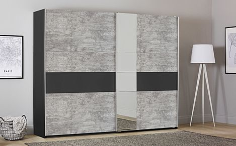 Rauch Korbach Metallic and Stone Grey 2 Door Sliding Wardrobe with Mirror 261cm