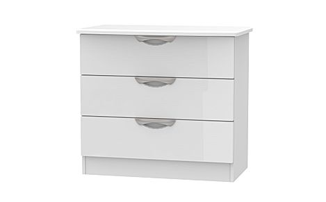 Camden White and White High Gloss 3 Drawer Chest of Drawers
