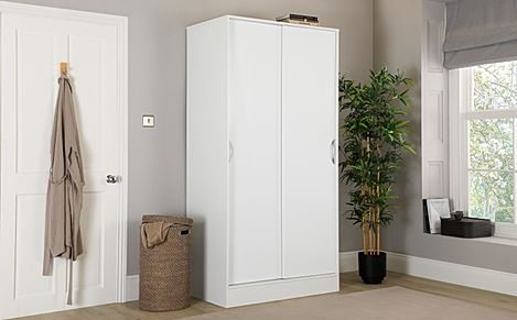 Camden White and White High Gloss 2 Door Sliding Wardrobe
