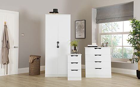 Camden White High Gloss 3 Piece 2 Door Wardrobe Bedroom Furniture Set