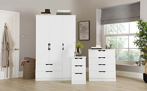 Camden White High Gloss 3 Piece 3 Door Wardrobe Bedroom Furniture Set