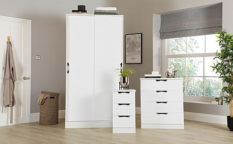 Camden White High Gloss 3 Piece 2 Door Sliding Wardrobe Bedroom Furniture Set