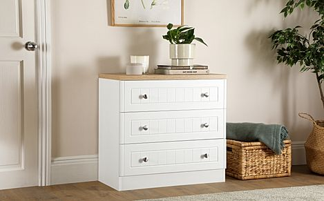 Vienna Porcelain Ash and Bordeaux Oak 3 Drawer Chest of Drawers