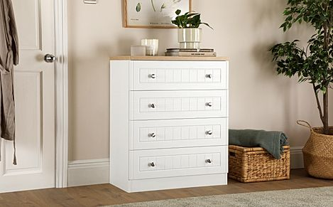 Vienna Porcelain Ash and Bordeaux Oak 4 Drawer Chest of Drawers