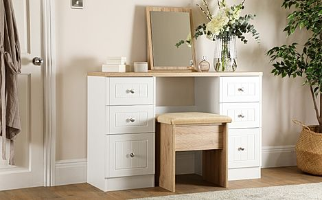 Vienna Porcelain Ash and Bordeaux Oak 6 Drawer Dressing Table