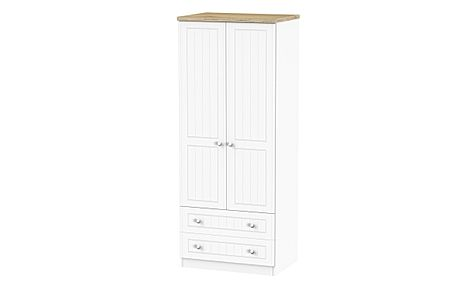 Vienna Porcelain Ash and Bordeaux Oak 2 Door 2 Drawer Wardrobe
