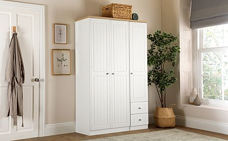 Vienna Porcelain Ash and Bordeaux Oak 3 Door 2 Drawer Wardrobe