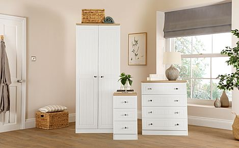 Vienna Porcelain Ash 3 Piece 2 Door Wardrobe Bedroom Furniture Set