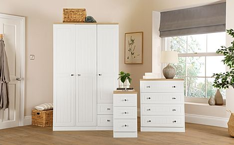 Vienna Porcelain Ash 3 Piece 3 Door Wardrobe Bedroom Furniture Set