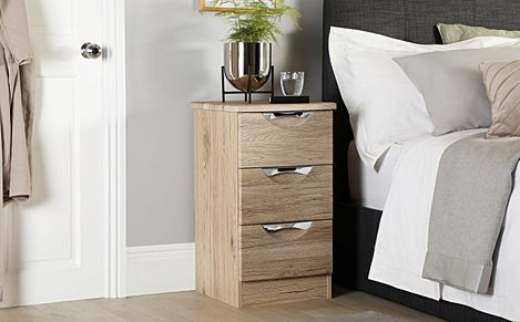 Camden Oak 3 Drawer Bedside Table