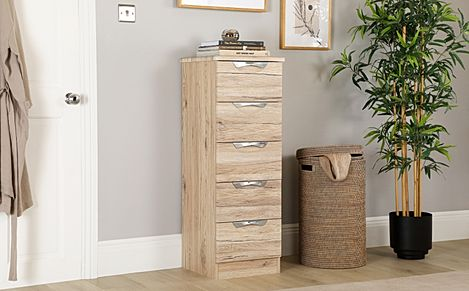 Camden Oak 5 Drawer Tall Narrow Chest of Drawers