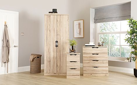 Camden Oak 3 Piece 2 Door Wardrobe Bedroom Furniture Set